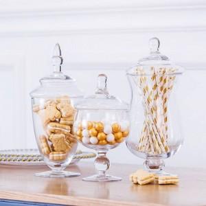 Européenne de haute qualité Candy jar artificielle en verre soufflé bouteille hôtel mariage dessert table décoration snack biscuit réservoir de stockage