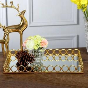 Chambre modèle européenne Hôtel Villa haut de gamme bureau décoration douce miroir plateau en métal décoration haut de gamme de luxe