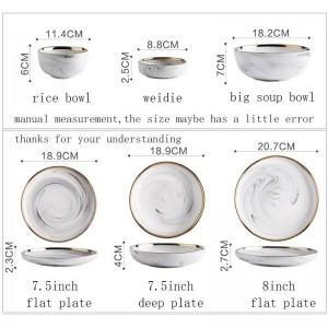 Style européen Céramique Texture marbre Assiette Spaghetti Bordure Dorée Vaisselle Légumes Plats profonds Bol De Riz Soupe Bols De Nouilles