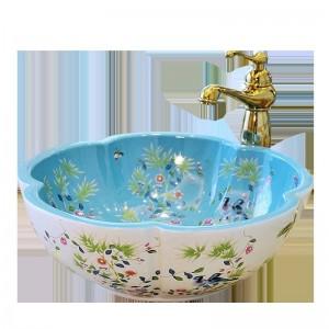Style européen en forme d'art fleur bassin lavabo lavabos éviers en céramique lavabo fleur et motif d'oiseau