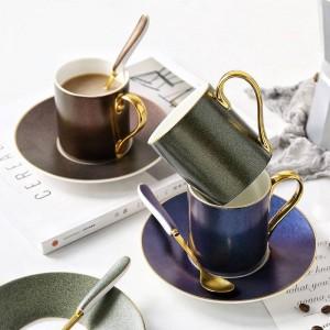 Style européen ciel étoilé modèle tasse à café mis en céramique tasse à thé de l'après-midi thé cuillère avec des cadeaux ménagers