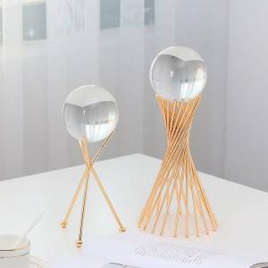 Style européen Boule de cristal transparente Décoration Salon Décoration Support en verre Verre artisanat Ornements
