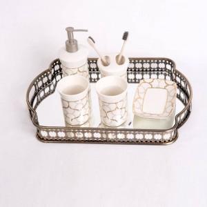 Plateau de rangement en verre plaqué de fer de style européen Plateau de miroir miroir Plateau du salon Lumière Plaque de luxe Décoration Plaque de fruits