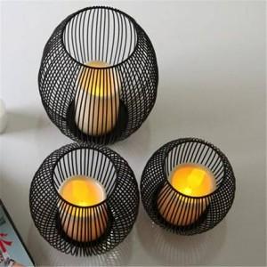Européen en fer forgé bougeoir conduit dîner aux chandelles les accessoires artisanat ornements ornements lampe à vent cage à oiseaux méditerranéenne