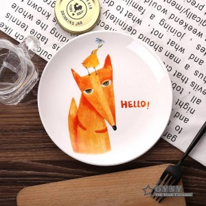 Style de la mode 8 * inch Dia Bone Céramique Assiettes Modèle de Bande Dessinée Porcelaine Vaisselle Salade Sushi Gâteau Plat