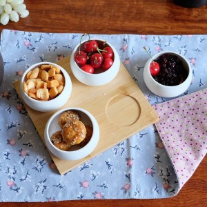 Ensemble de cinq pièces Plateau de fruits Plateaux de service Assiettes en céramique créatives pour collations, noix et desserts Plateau en bambou écologique naturel