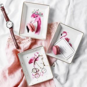 Flamingo Modèle Céramique Plaque De Stockage INS Minimaliste Dessert Bijoux Articles Divers Conteneur Décor Bureau Stockage Organisateur pour La Maison
