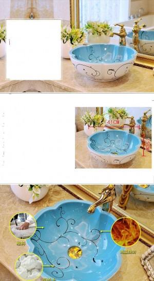 Forme de fleur Style Européen Antique Bassin Lavabo Salle De Bains Main Bassin Bateau Peint À La Main Lavabos En Céramique Lavabo Lavabo