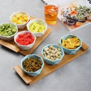 Ensemble de quatre / cinq pièces Plateau de fruits Plateaux de service Assiettes en céramique créatives pour collations, noix et desserts Plateau en bambou écologique naturel