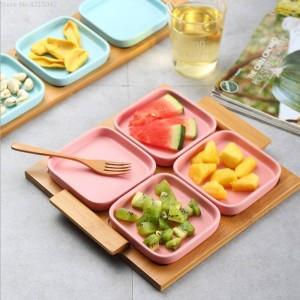 Assiette de fruits moderne salon maison Céramique créative assiette de fruits secs mariage boîte de bonbons plaque d'écrou casse-croûte plateau en bois