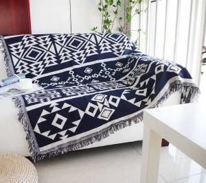 Géométrie jeter couverture canapé décoratif bleu Bohemia Slipcover Cobertor sur canapé / lits / avion de voyage couvertures de couture antidérapantes