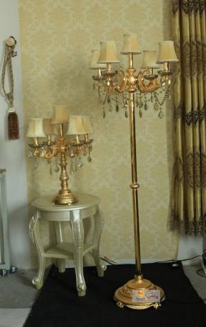 Lampadaire antique doré chambre cristal doré vintage avec abat-jour lampadaires contemporains weddinhg chandelier