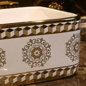 Motif de verre or Lavabo en céramique de lavabo Lavabo sous le comptoir Lavabos de salle de bain vasque bol rectangulaire