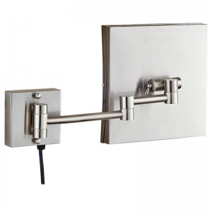 3x miroir de maquillage éclairé par vanité de loupe avec les lumières menées et le grossissement, miroirs carrés de mur de rasage de salle de bains nickel