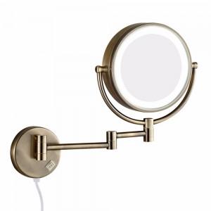 Miroir de maquillage mural avec lumières led et loupe 10X double bras rétractables, miroirs de rasage rabattables antiques