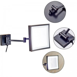 Miroir de maquillage pivotant de l'hôtel 360 avec 50 lumières LED et un miroir carré grossissant 3X avec bras à double miroir