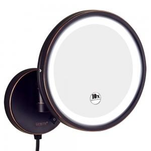 Miroir de maquillage illuminé par vanité de grossissement de la salle de bains d'hôtel 10X rasant, miroirs ronds de bâti de mur avec la loupe 7X / 5X / 3x