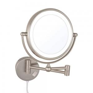 Miroirs de maquillage à grossissement lumineux à led à double face pivotants rétractables rétractables rétractables avec lumières led Nickel