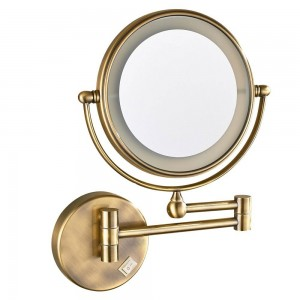 Miroir de maquillage mural éclairé par LED avec grossissement 7X, Bronze antique poli, prise électrique, 360 miroirs tournés