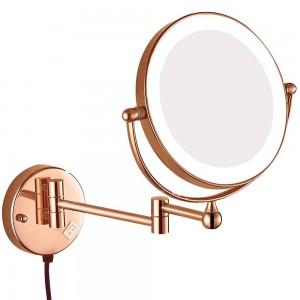Miroir de maquillage de salle de bains de mirroirs pivotants à miroir grossissant avec prise électrique, loupe 10x 7x