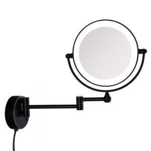 Miroir de maquillage pour salle de bains avec bain de lumière éclairé, bronze huilé