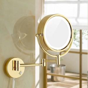 """Miroirs de maquillage pour le rasage avec lampes à LED et miroirs muraux de vanité de salle de bains montés au mur grossissant 10x / 1X, miroirs dorés 8.5 """""""