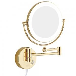 """Miroirs de maquillage pour salle de bains à montage mural avec lumières DEL et miroir de rasage grossissant 7x, double face à rotation prolongée, or tourné 8 """""""