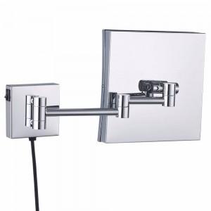 Miroir de maquillage monté au mur loupe éclairé illuminé de maquillage encadré carré miroirs de rasage extensibles chrome