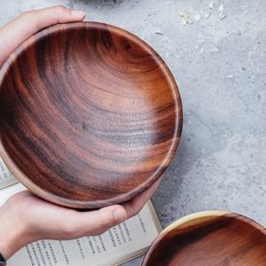 Bol en bois massif fait à la main Petits petits bols ronds en bois Salade Soupe à manger Bols de service Assiette en bois Ustensiles de cuisine Vaisselle