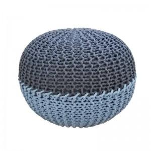 Pouf de plancher rond fait main - Pouf repose-pieds en coton enroulé dans une corde de coton Tabouret pouf décoratif