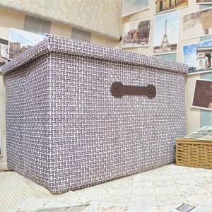 Boîte de rangement pliable en paille faite à la main grand tiroir en tissu recouvert de tissu recouvert de tiroir de rangement Vêtements Jouets Panier de rangement 51cm * 48cm * 31cm