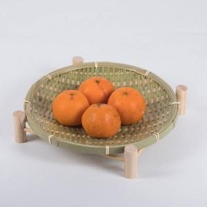 Fait à la main En Bambou Tissé Panier De Fruits En Osier De Paille Alimentaire Pain Organisateur De Cuisine De Stockage Cadeau Décoratif Petit Plat Plat Rond