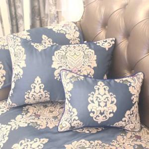 HAO JOY New Royal Bleu Euro De Luxe Charme Jacquard Housse de Coussin Décor À La Maison Carré Fleurs Toutes Les Allumettes Taie D'oreiller