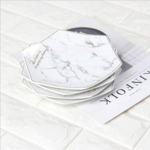 Hexagone Blanc Marbre Style Céramique Plaque De Stockage Avec Golden Rim Chic De Luxe Dessert Fruits Bijoux De Stockage Organisateur Décoratif