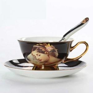 Tasses à café en porcelaine de haute qualité Vintage tasses en céramique sur des tasses à thé et soucoupes avancées émaillées Cadeaux de luxe