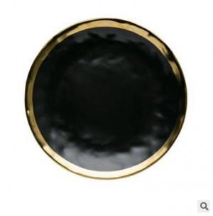 Plat à bifteck occidental de qualité supérieure en céramique plaquée or à haute teneur en or noir série noire