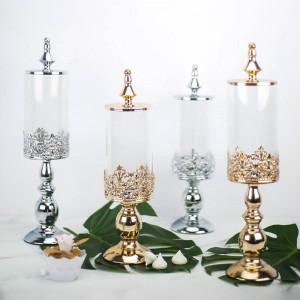 Haute qualité européenne base en métal pot de bonbons mariage dessert table décoration couverte boîtes de verre snack biscuit réservoir de stockage