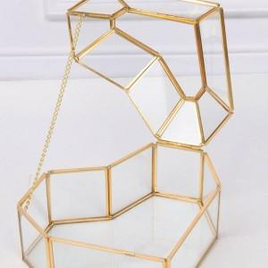 Haute qualité en forme de coeur fleur maison verre boîte de rangement de bijoux artisanat cadeau décoration maquillage organisateur