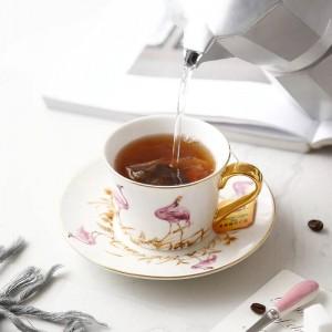 Ensembles de tasses à café et de soucoupes en os de haute qualité avec une cuillère en or grande capacité après-midi thé tasse de thé noir