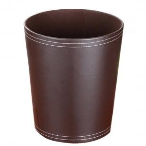 Haute Qualité Forme Ronde Solide Couleur PU Poubelle Poubelle Corbeille À Papier Corbeille À Poudre Titulaire Cas Poubelle Poubelle