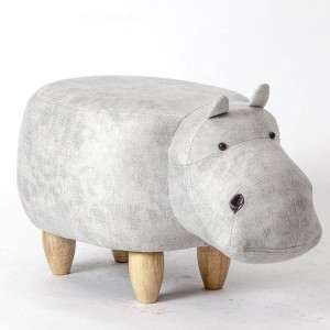 Hippo Animal Pouf Rangement Repose-Pied Tabouret Rembourré Rembourré Assise Hippo Tabouret Pouf Adorable Banc Comme Cadeau D'enfants, Coffre À Jouets