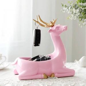 Accessoires de décoration à la maison modernes pour la maison Bureau boîte de rangement de téléphone clé pour salon ornements de résine Cerf Figurines Cadeaux