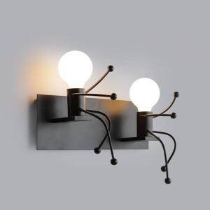 Décoration d'intérieur Vintage Creative Homme Forme Lampe Murale Lumière Douce double tête Applique E27 led lampe AC 85-240V Applique Murale