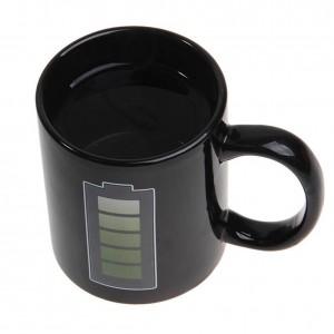 Tasse à café changeante de couleur de batterie tasse en céramique Tasse thermo-induction Tasse à café résistante à la chaleur intéressante