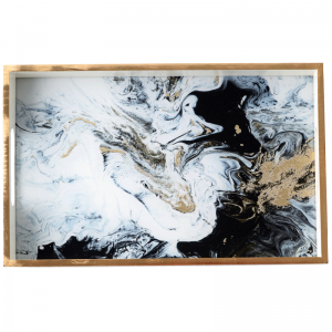 InsFashion style artistique rectangle modèle de marbre en bois plateau de service pour le style américain table à manger décoration