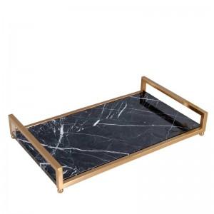 Plateau de service InsFashion en marbre noir de haute qualité avec poignée en laiton pour plateau de rangement pour cosmétiques et soins de la peau de style royal