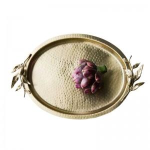 InsFashion haut de gamme ovale marteau grain main en laiton plateau à dessert pour nobiliary fête de mariage et décor à la maison