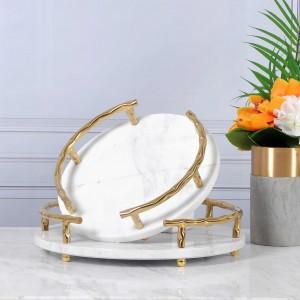 Plateau de service InsFashion en marbre naturel blanc avec poignée en or pour homme riche et décor 5 étoiles