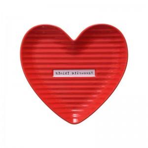 InsFashion beau plat de bijoux en céramique en forme de coeur rouge et rose pour les ensembles-cadeaux de la fête des mères
