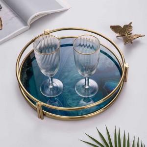 Plateau de service en verre chaud et de luxe InsFashion avec motif d'agate imprimé en 3D et cadre doré pour décoration intérieure de style nordique